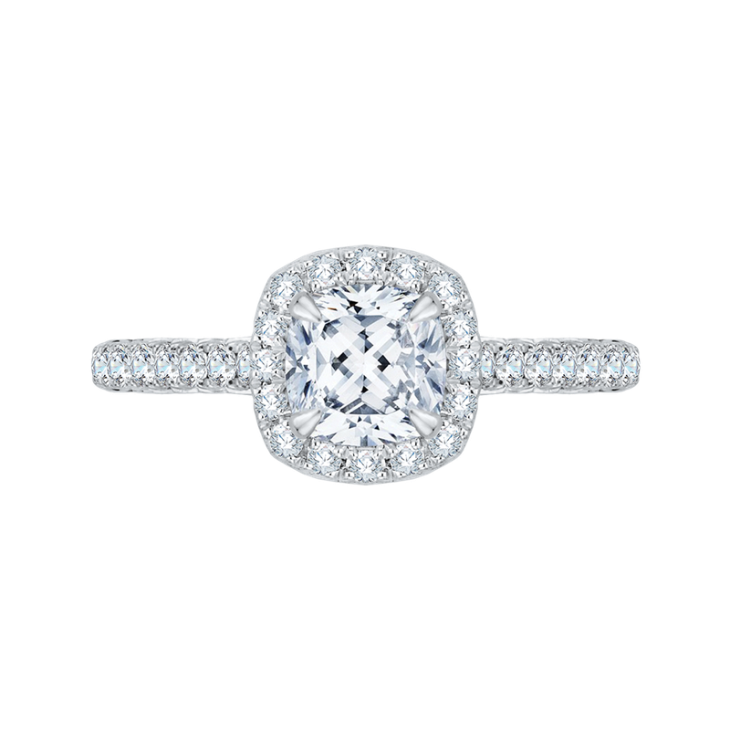 Cushion Cut Halo Diamond Engagement Ring In 18K White Gold (Semi-Mount)