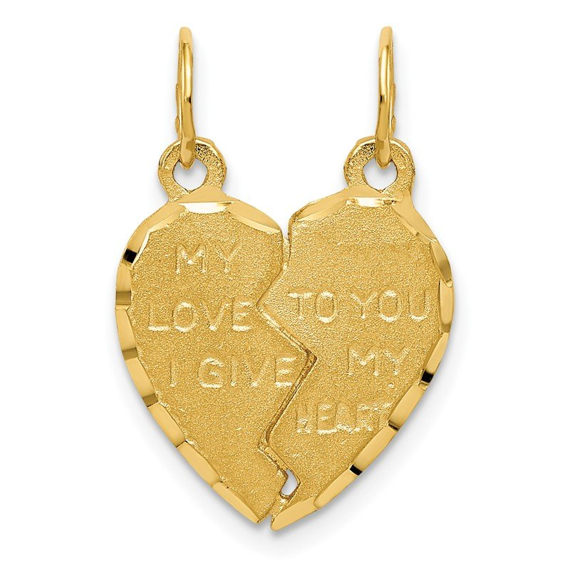 Quality Gold 14k Break Apart MY LOVE TO YOU I GIVE MY HEART Charm