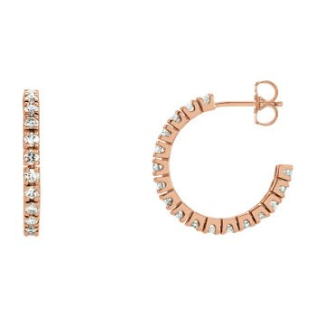 14K Rose 1 CTW Diamond Hoop Earrings