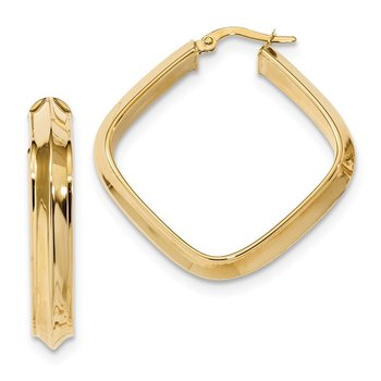 14k Polished Beveled Tube Square Hoop Earrings