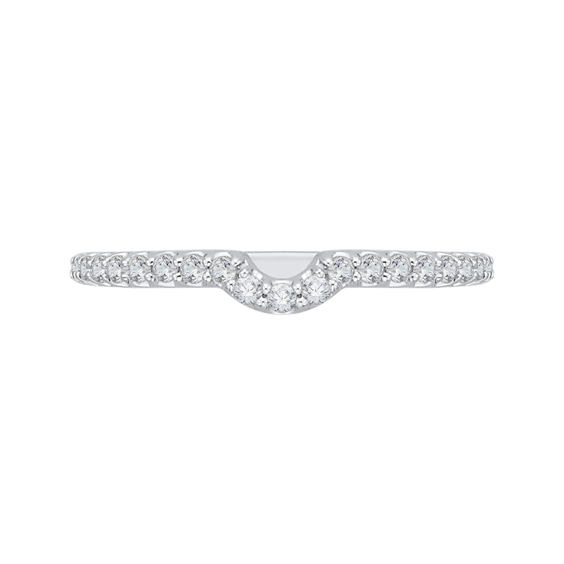 Carizza Round Diamond Wedding Band In 14K White Gold
