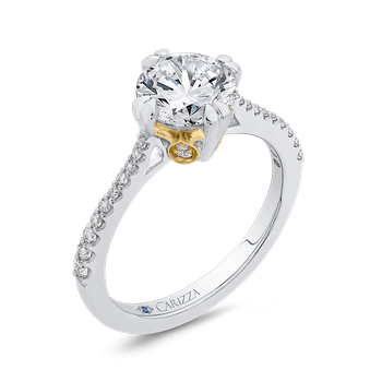 18K Two Tone Gold Round Diamond Floral Engagement Ring (Semi-Mount)