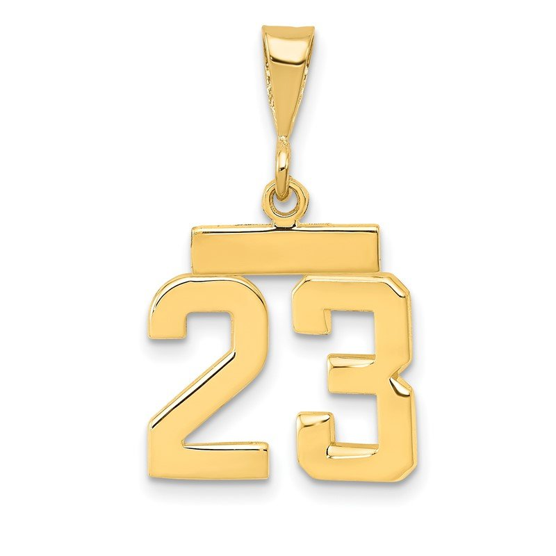 Quality Gold 14k Small Polished Number 23 Charm