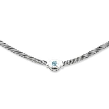 Sterling Silver Blue Topaz and Mesh Fancy Necklace