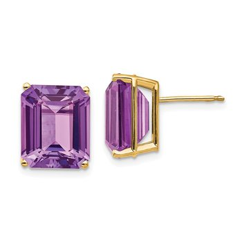 14k 12x10mm Emerald Cut Amethyst Earrings