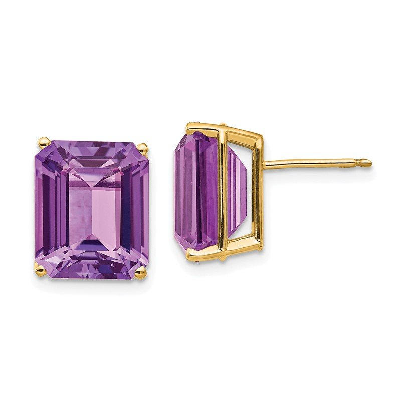 Quality Gold 14k 12x10mm Emerald Cut Amethyst Earrings