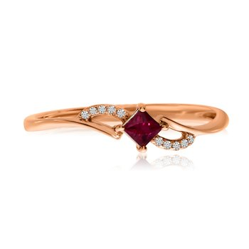 14k Rose Gold Princess Ruby and Diamond Ring