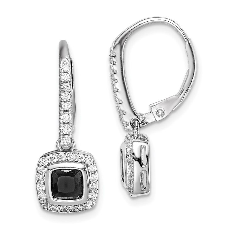 Quality Gold Sterling Silver Rhodium-plated Black and White CZ Leverback Earrings