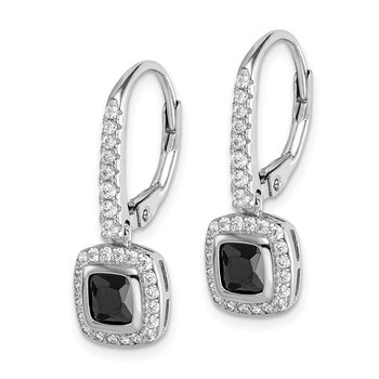 Sterling Silver Rhodium-plated Black and White CZ Leverback Earrings