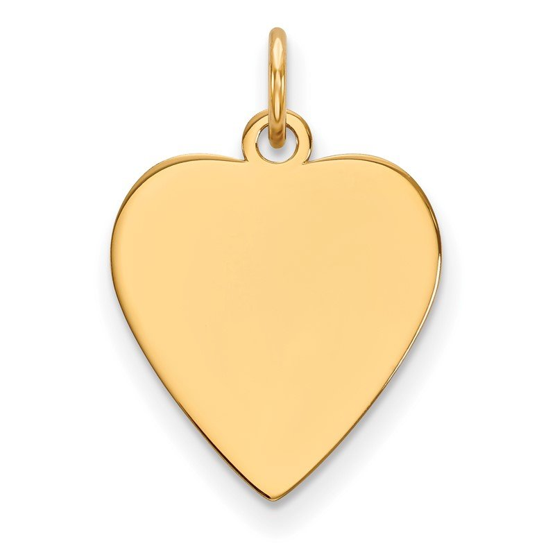 Quality Gold 14k Plain .018 Gauge Heart Engravable Disc Charm