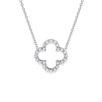 Diamond Open Clover Necklace in 14K White Gold with 24 Diamonds Weighing .24ct tw.