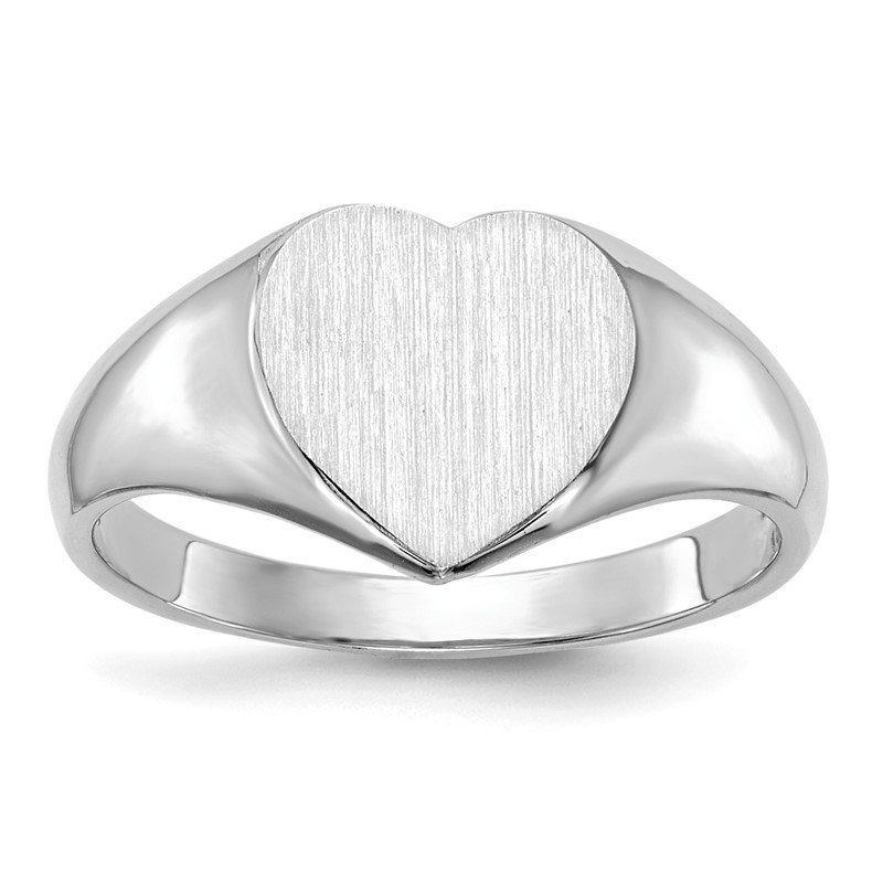 Quality Gold 14k White Gold 7.5x8.0mm Closed Back Heart Signet Ring