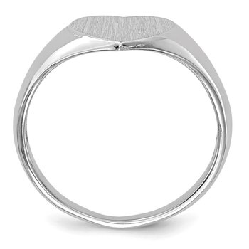 14k White Gold 7.5x8.0mm Closed Back Heart Signet Ring