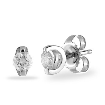 14K WG Daimond 'I Love You' Solitaire Earring
