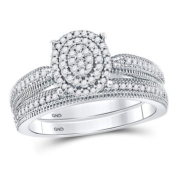 10kt White Gold Womens Round Diamond Oval Bridal Wedding Engagement Ring Band Set 1/3 Cttw