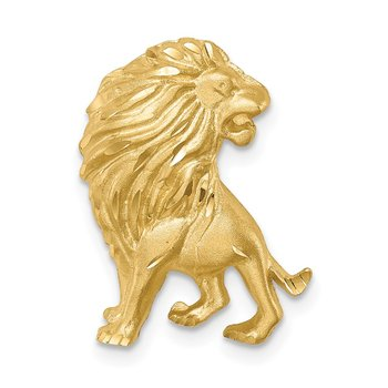 14K Brushed Diamond-cut Lion Chain Slide