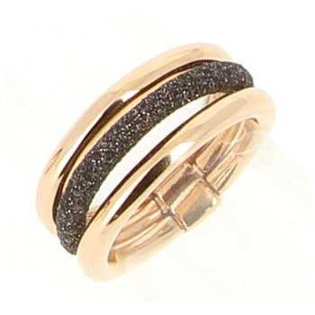 3 Band Polvere Di Sogni Combo Ring - Dark Brown & Rose Gold