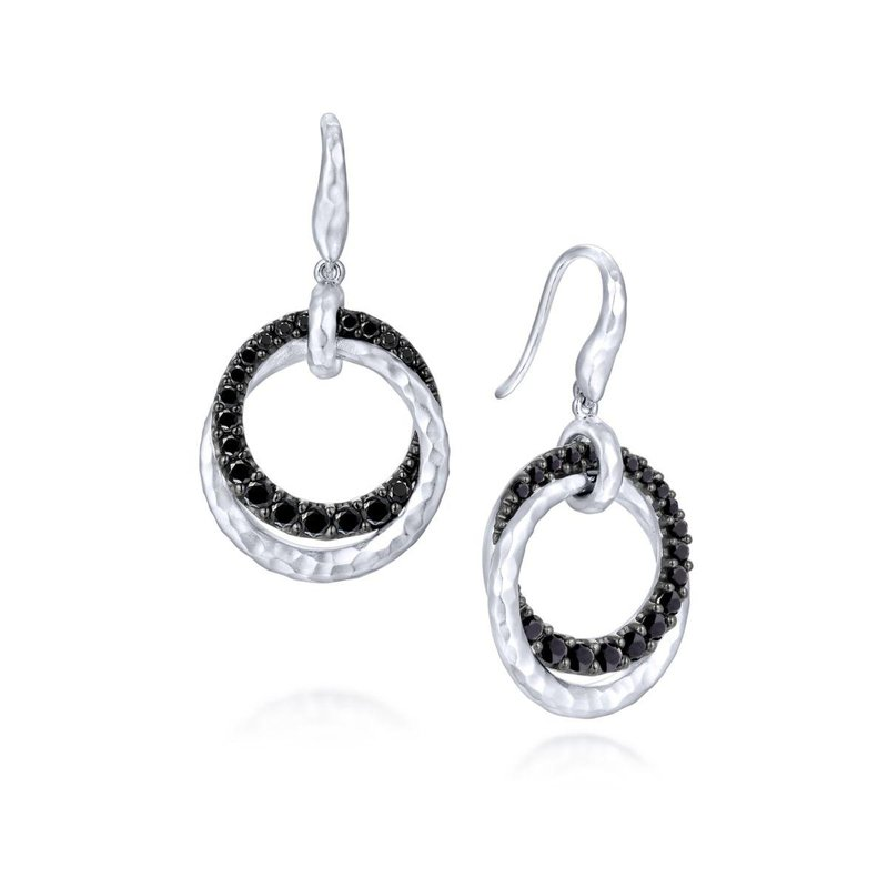 Gabriel Fashion 925 Sterling Silver Black Spinel Double Circle Drop Earrings