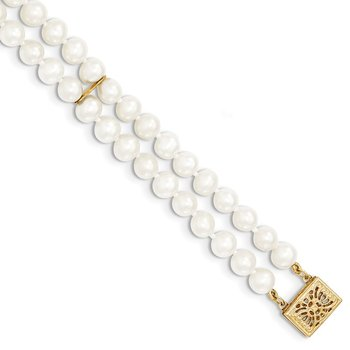 14k 5-6mm White Near Round FW Cultured Pearl 2-strand Bracelet