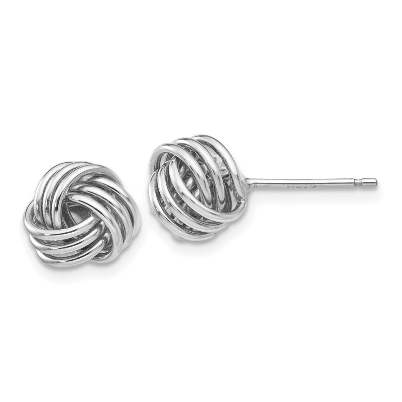 Quality Gold 14k White Gold Ridged Love Knot Post Earrings