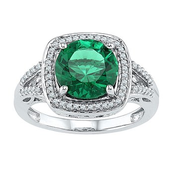 10kt White Gold Womens Round Lab-Created Emerald Solitaire Square Diamond Frame Ring 4.00 Cttw