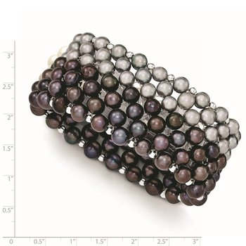 Sterling Silver Black/Grey 6-7mm FW Cultured Pearl Stretch Bracelet