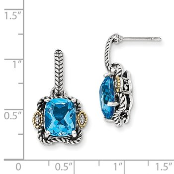 Sterling Silver w/14k Antiqued Blue Topaz & Diamond Post Earrings