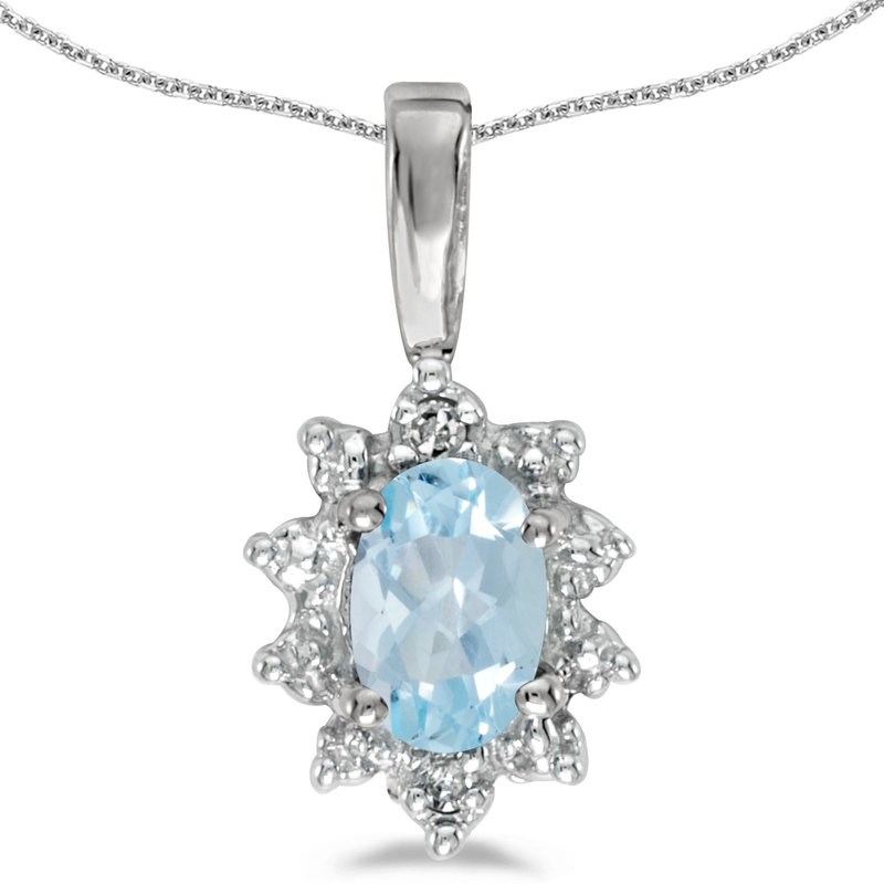 Color Merchants 14k White Gold Oval Aquamarine And Diamond Pendant