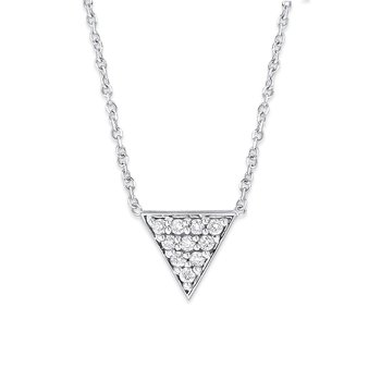 Diamond Pyramid Necklace in 14K White Gold with 10 Diamonds Weighing .10ct tw