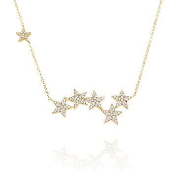 14k Gold and Diamond Multi Star Necklace