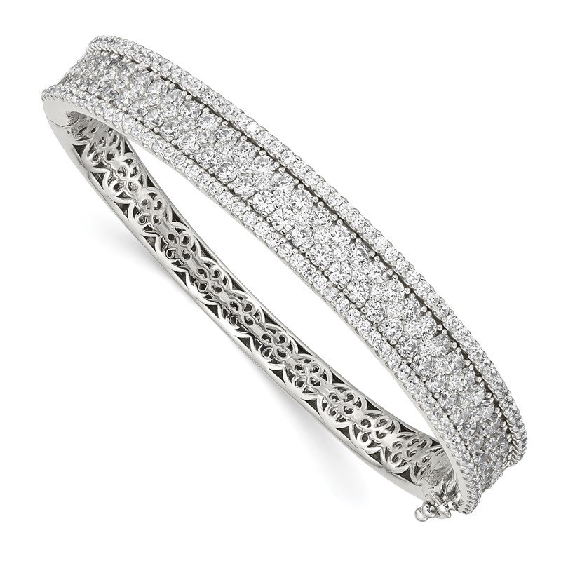 Quality Gold Sterling Silver CZ Hinged Bangle