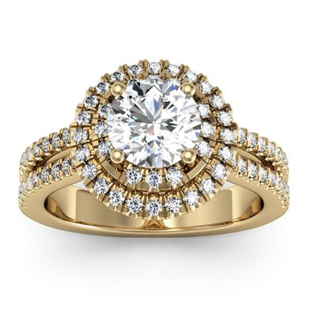 Double Row Halo Engagement Ring