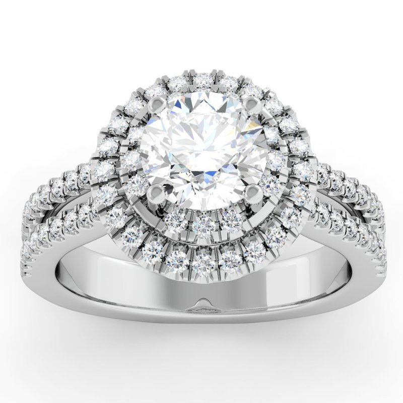 J.F. Kruse Signature Collection Double Row Halo Engagement Ring