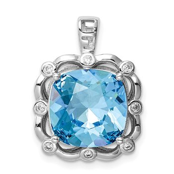 Sterling Silver Rhodium-plated Clear/Blue Cushion Crystal Pendant