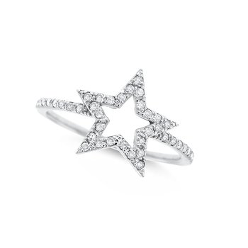 Diamond Open Star Ring in 14K White Gold with 41 Diamonds Weighing .15ct tw