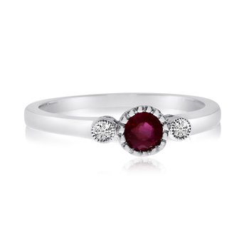 14k White Gold Ruby Bezel Set Ring