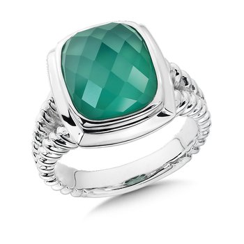 Sterling Silver Green Agate & Quartz Colore Fusion Ring