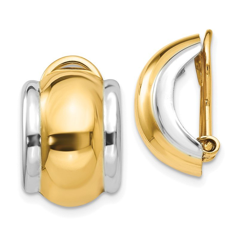 Fine Jewelry by JBD 14k Two-tone Omega Clip Non-pierced Earrings