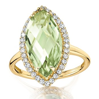 Marquise Green Amethyst & Diamond Statement Ring in 14K Yellow Gold