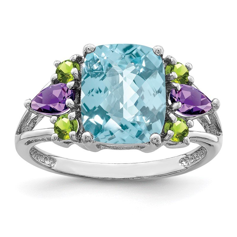 Quality Gold Sterling Silver Rhodium Light Swiss Blue Topaz, Amethyst & Peridot Ring