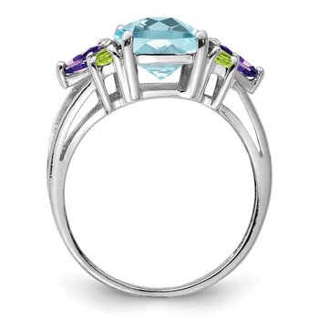 Sterling Silver Rhodium Light Swiss Blue Topaz, Amethyst & Peridot Ring