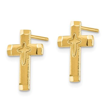 14K Cross Post Earrings