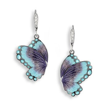 Purple Butterfly Wire Earrings.Black Rhoidum Plated Sterling Silver-White Sapphires