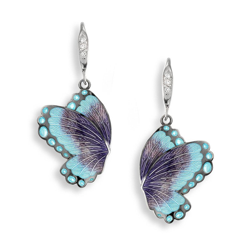 Nicole Barr Designs Purple Butterfly Wire Earrings.Black Rhoidum Plated Sterling Silver-White Sapphires
