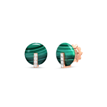 18Kt Gold Disc Earrings With Diamonds And Malachite