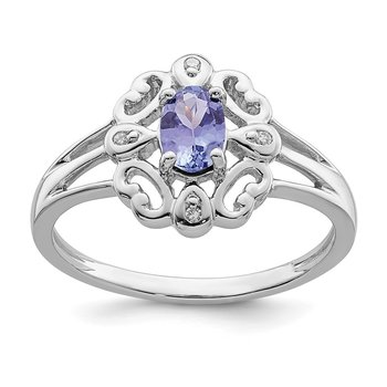 Sterling Silver Rhodium Plated Diamond & Tanzanite Oval Ring