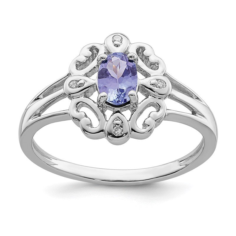 Quality Gold Sterling Silver Rhodium Plated Diamond & Tanzanite Oval Ring