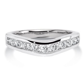 Channel set Curved Diamond Wedding Band 14k White Gold (1/4ct. tw.)