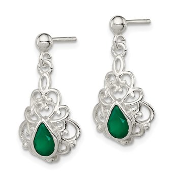 Sterling Silver Polished Green Agate Pendant and Post Earrings Set