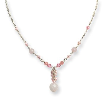 Sterling Silver Rose/Cherry Quartz/Pink Crystal/Pink FWC Pearl Necklace